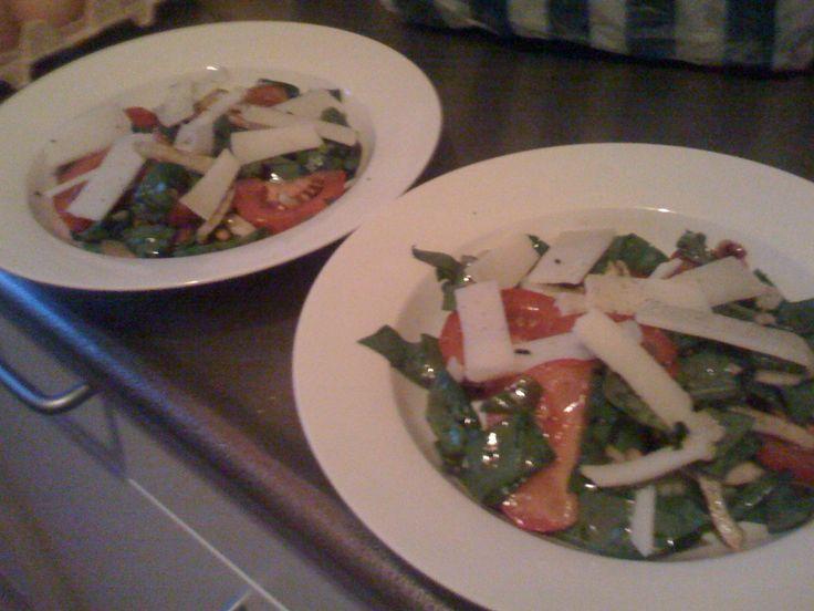 Salade met spinazie, venkel en hollandse geitenkaas