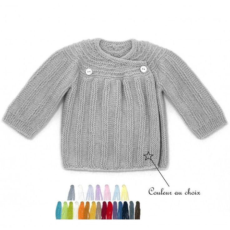 brassière bébé couleur au choix tricoté main par nos mamies françaises en laine mérinos : pour une tenue chaude et chic.