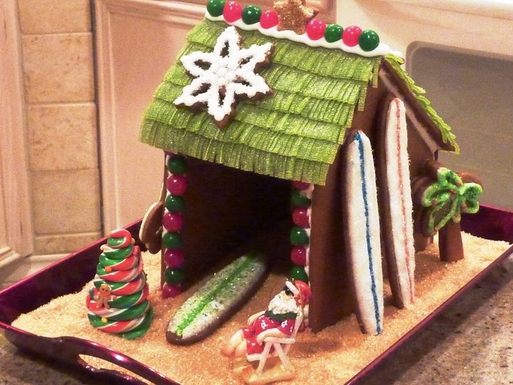 Gingerbread surf hut. I love this twist to the traditional Gingerbread house