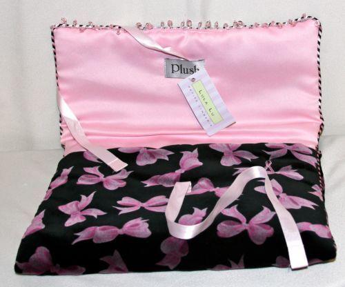 Plush-Petite-Travel-Bag-Lingerie-Breast-Cancer-Velour-Dupioni-Silk-12-x-5x-9