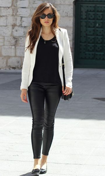 "Would love to try a white blazer and ""leather"" legging/pant"