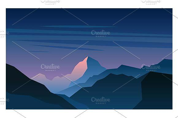 Sunrise in the mountains by Kurokstas on @creativemarket