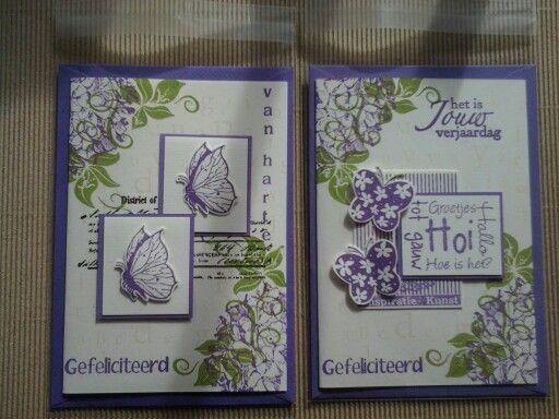 Felicitatie kaartje met veel different colors stempels