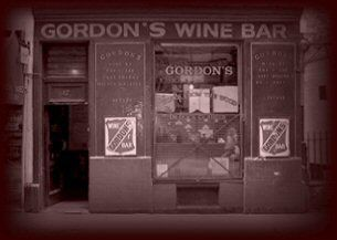 Gordon's Wine Bar, 47 Villiers St, London. Once home of Samuel Pepys in the 17th century and where Lawrence Oliver wooed Vivien Leigh. With its low vaulted ceilings and semi-dark candlelit cellar, the bar has a timeless feel.