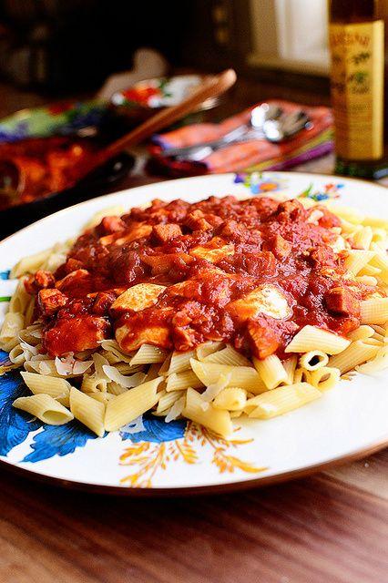 Chicken Mozzarella Pasta. Did it using mayor polpa with a few tbsp amatricana paste. Next time to add peas
