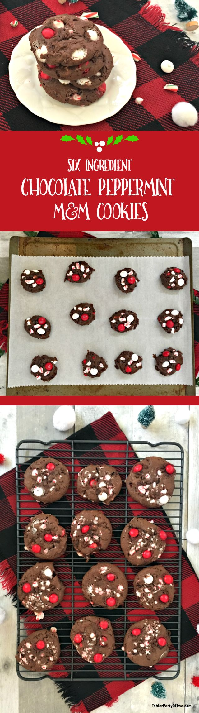 OMG, y'all! These six ingredient chocolate peppermint M&M cookies are to die for! You start with a box of devil's food cake mix and then add just 5 more ingredients. NO ONE will know you didn't start from scratch! Perfect for your holiday party or cookie exchange. TablerPartyofTwo.com