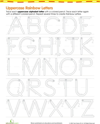 Worksheets: Rainbow Letters! Practice Writing Uppercase Letters