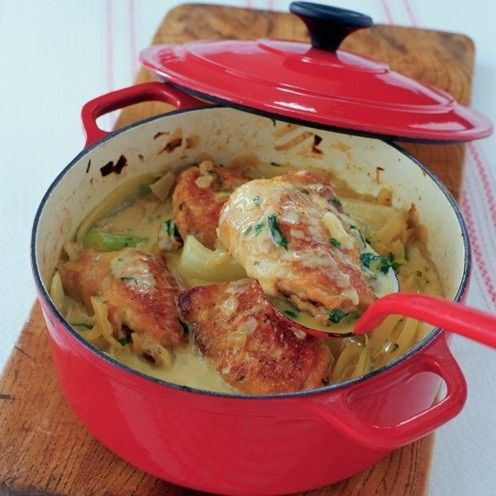 Chicken casserole recipe with fennel and tarragon - serve with wild rice or your favourite green veg.
