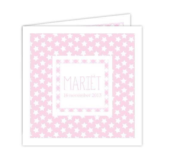 Studio Deksels - KAARTopMAAT - geboortekaartje - roze - sterretjes