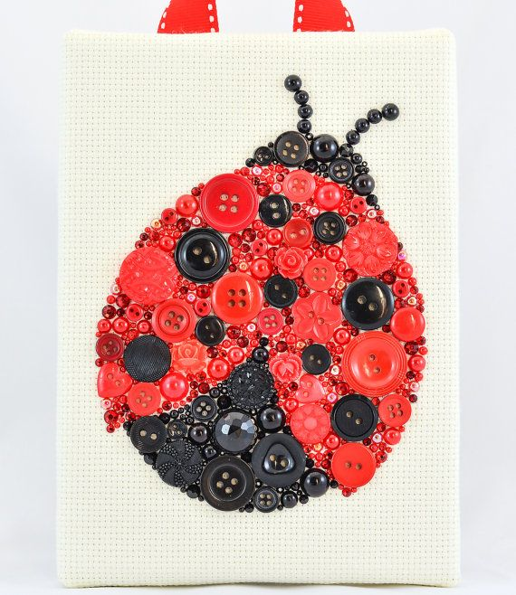 Button Art - Ladybug - Vintage Button Art by PaintedWithButtons on Etsy, $70.00