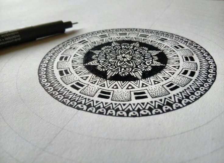 "376 Likes, 8 Comments - Zaan D. Voir (@zaand.voir) on Instagram: ""Rings, circles, dots and lines It's snowing outside #drawing #drawingoftheday #mandala #colouring…"""
