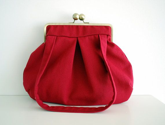 red shoulder bag red handbag red purse kiss lock bag by PikulaBags, $75.00
