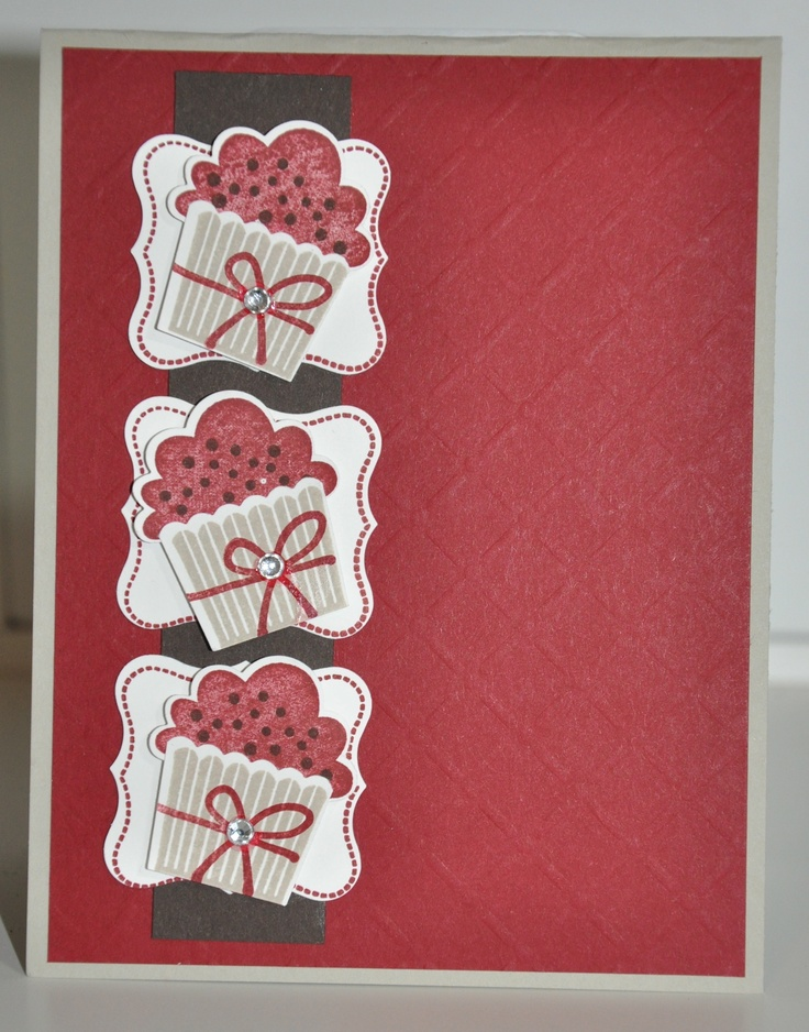 Stampin Up cupcakes on curly label punch