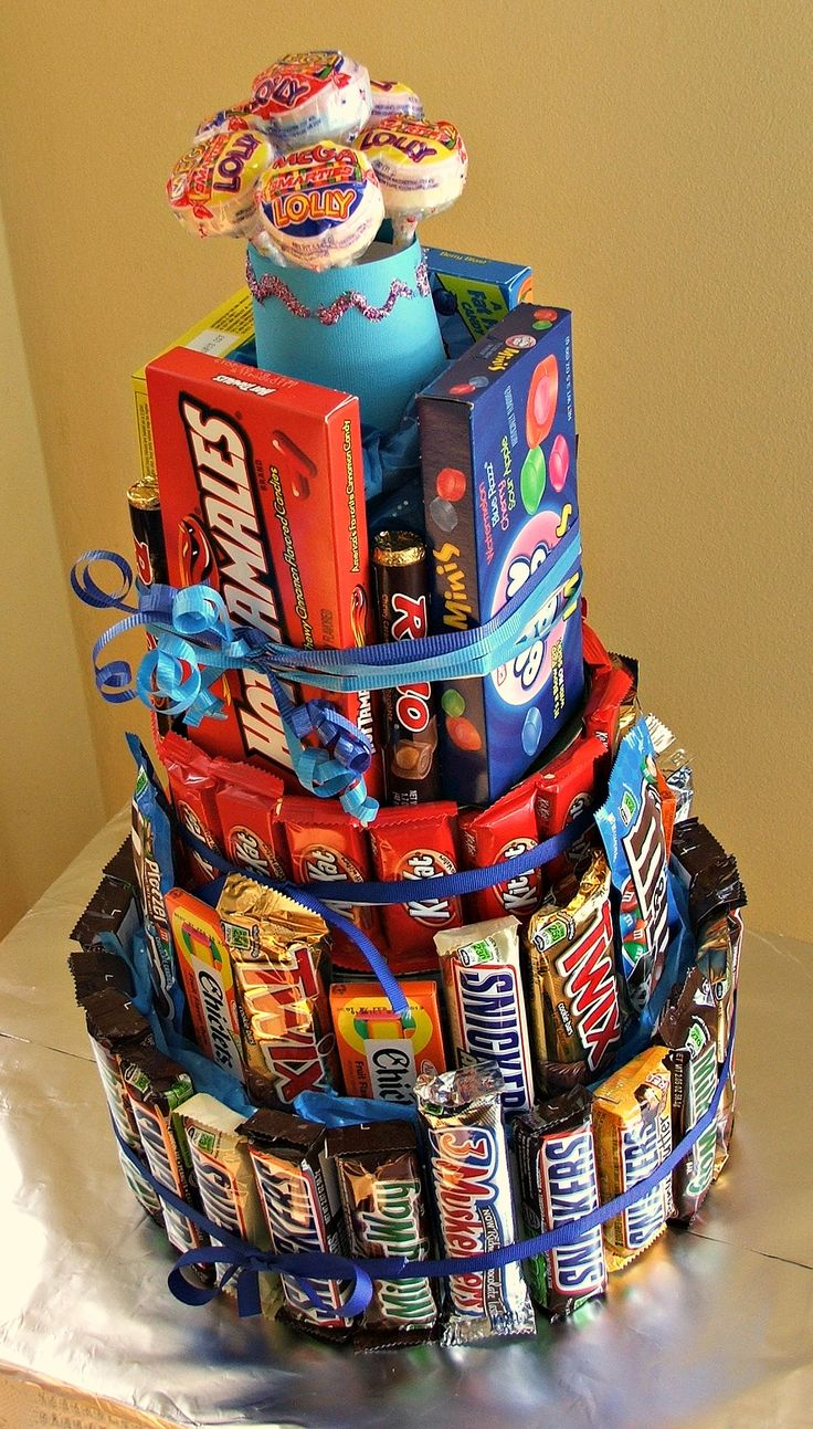 Candy Bar Cake;...this is the cake I'm asking for for... my birthday  with all my favorite candies on it..YUM