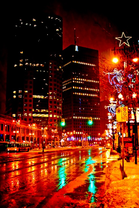 Portage and Main at Christmas - Winnipeg - Image by Carla Dyck