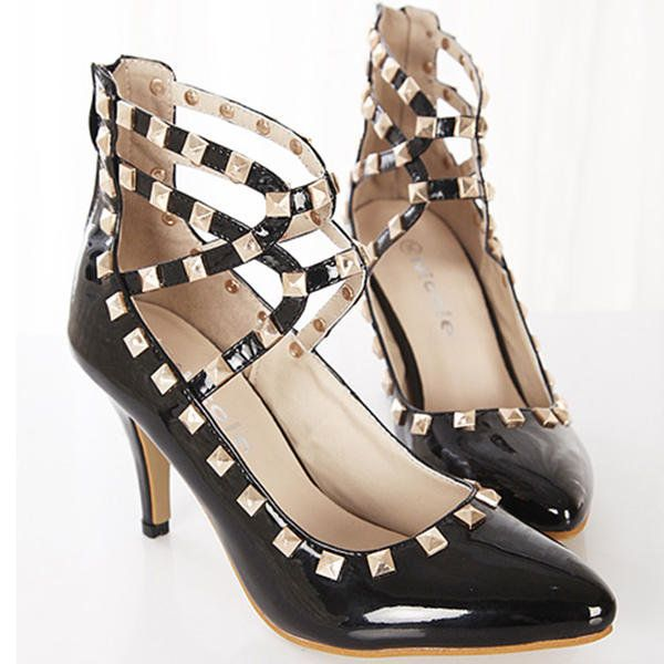 Women Sexy Pointed Toe Spiked Studded Buckle Stiletto High Heel Shoes - US$23.53 sold out