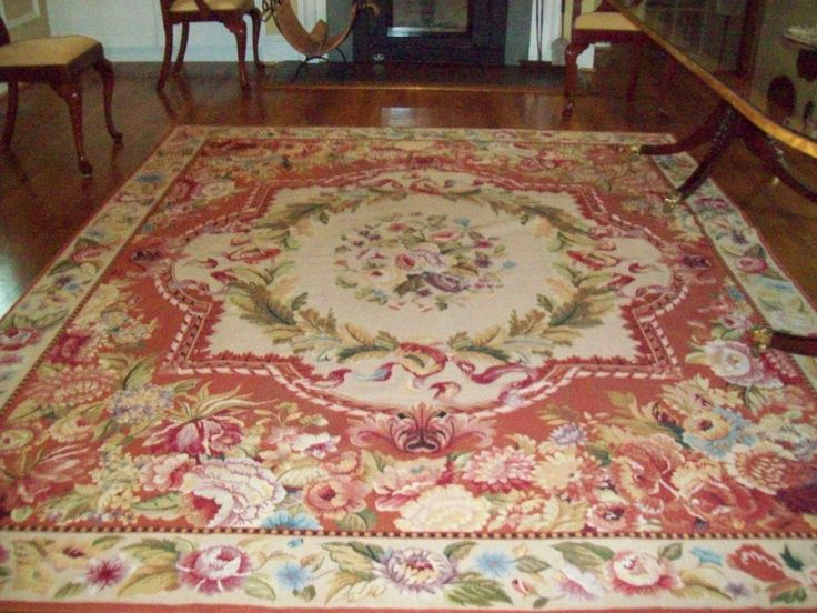 French Aubusson Needlepoint Oriental Area Rug Carpet 8 X 10 Rust Rose Beige