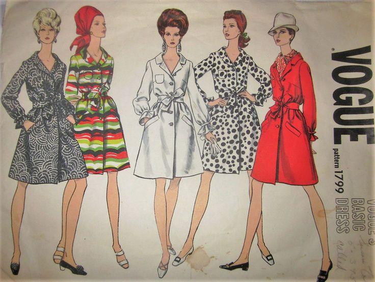 Vogue's Basic Dress 1799 Women's 60s One-Piece Shirt Dress Sewing Pattern Size 10 Bust 31