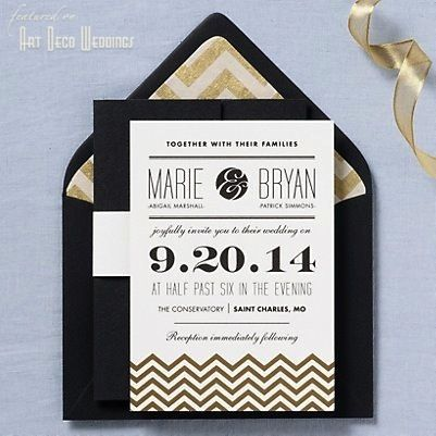 Gold and black chevron wedding invitations. Love the chevron liner