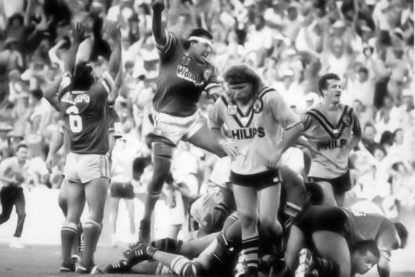 1989 Grand Final: Canberra Raiders centre Laurie Daley celebrates John Ferguson's try.
