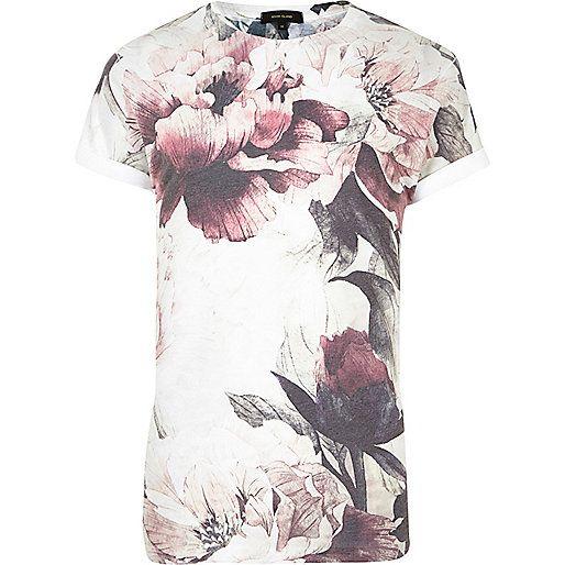 T-shirt blanc imprimé à fleurs délavé - T-shirts imprimés - t-shirts/débardeurs - Homme