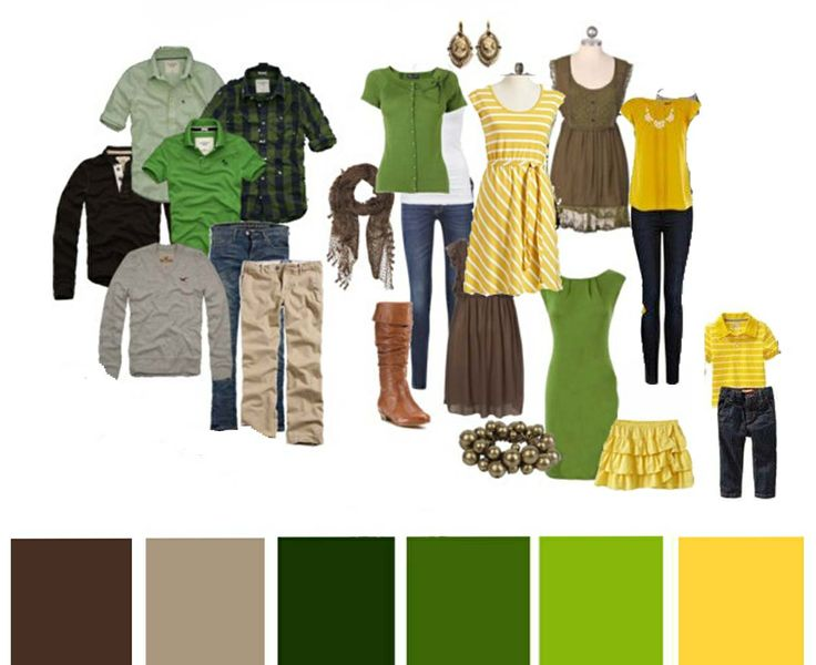 """Family reunion photos in July. Help! Here's what my sis-in-law wrote: """"We're aiming for nice casual (dark jeans, khakis, or fun summer skirts/dresses). We thought that the greens and browns would keep it relatively neutral, but the yellow allows for a pop of fun color. """""""