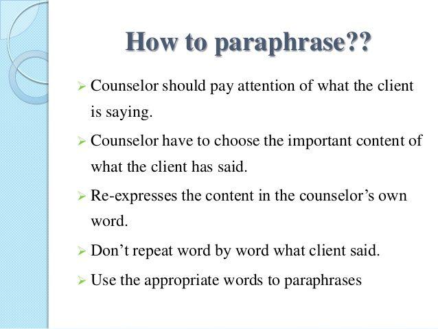Paraphrasing training activities