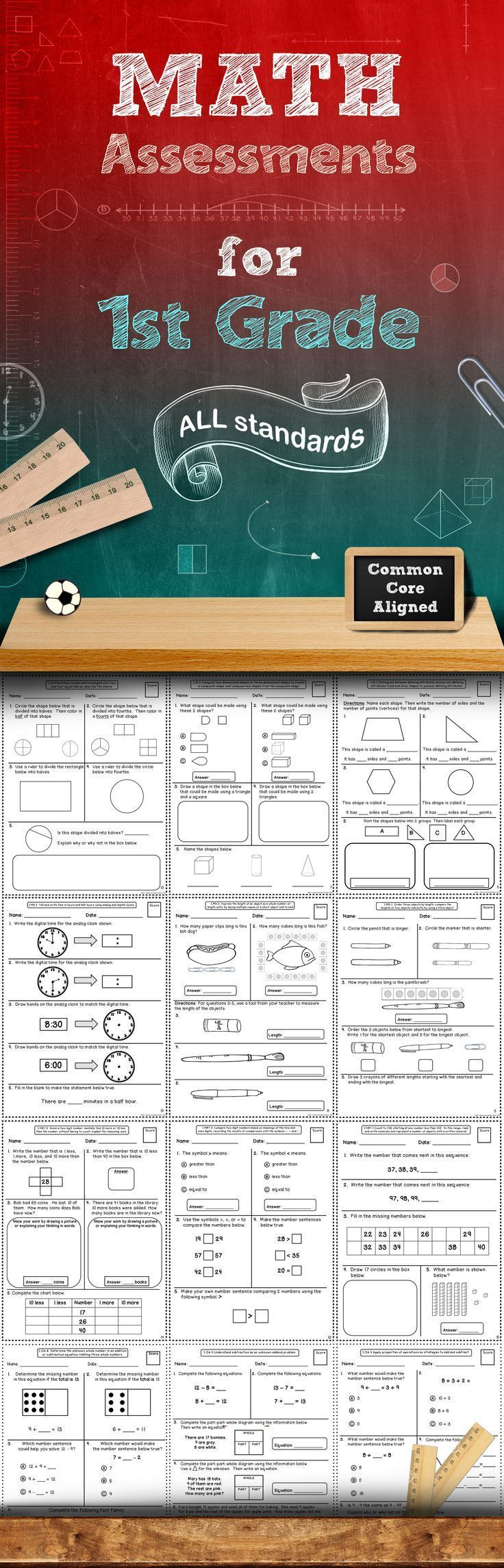 This 60+ page assessment bundle contains quick math assessments for every 4th Grade Common Core Math Standard. There are at least 2 assessments included for each standard. These assessments packs are also available for grades 2, 3, 4 and 5! (scheduled via