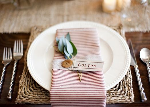 striped napkin + wooden button + leaves + stringed name card + rope placematWedding Inspiration, Placemats Tables, Tables Sets, Stripes Napkins, Ropes Placemats, Wedding Placemats, Names Cards, Tablescapes Perfect Sets, Wooden Buttons