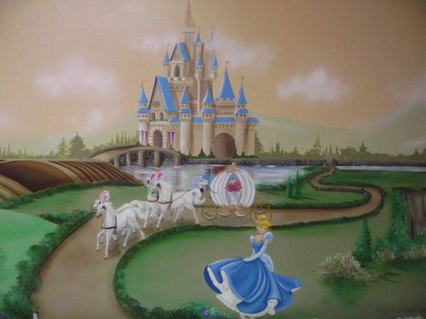 17 best ideas about castle mural on pinterest princess for Cinderella wall mural