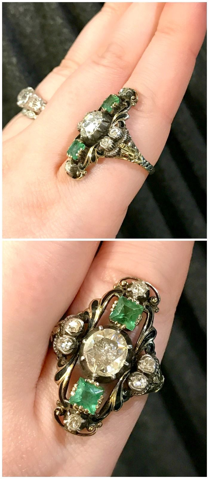 A stunning antique emerald and diamond ring from the personal collection of jewelry dealer from Marilyn and Co.