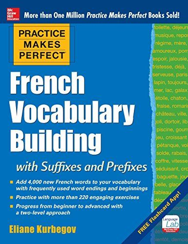 Practice Makes Perfect French Vocabulary Building with Suffixes and Prefixes: (Beginner to Intermediate Level) 200 Exercises + Flashcard App:   h4Harness the power of suffixes and prefixes while adding more than 4,000 words to your French vocabulary!/h4  How do you turn Scotland into a Scottish citizen? Or change your brother into a colleague?* It isn't magic, it's suffixes and prefixes. When attached to base words, they have the ability to change meanings to indicate quantity, profess...