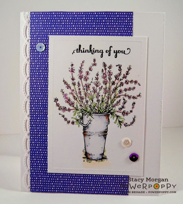 Twinshappy: Lavender stamp set by Power Poppy, card design by Stacy Morgan.