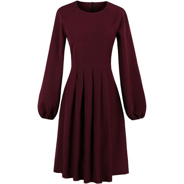 SheIn(sheinside) Box Pleated Dress ($25) ❤ liked on Polyvore featuring dresses, burgundy, long sleeve knee length dress, fit-and-flare dress, burgundy long sleeve dress, long-sleeve maxi dresses and fit flare dress