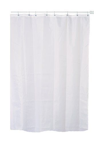 Extra Long 7 Feet 84 Inches White Fabric Polyester Nylon Shower Curtain With Metal Grommets Buckles At The Top And A Weighted Hem Bottom