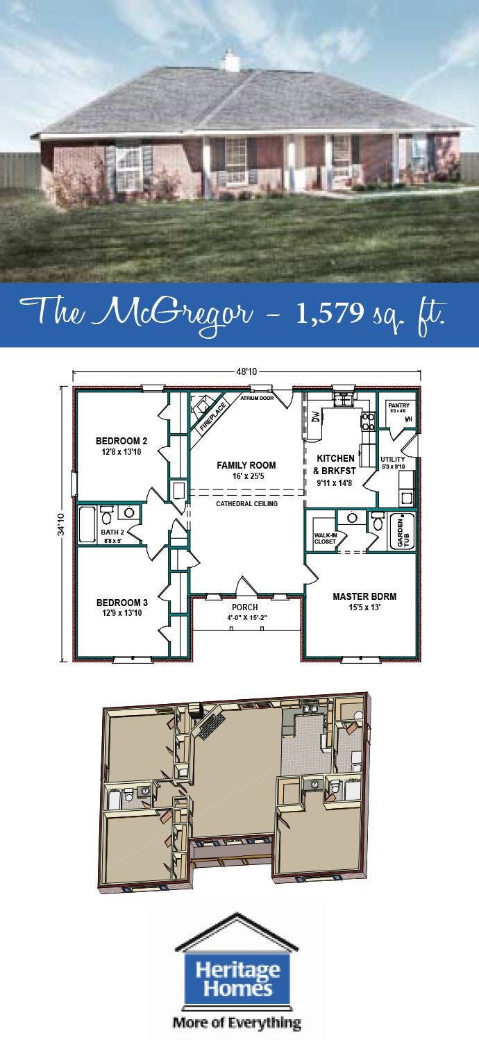 1 500 1 600 Sq Ft Floor Plan The Mcgregor Is A 1 579 Sq Ft Home With 3 Beds 2 Baths We Strive To Build Building Plans House Floor Plans House Blueprints