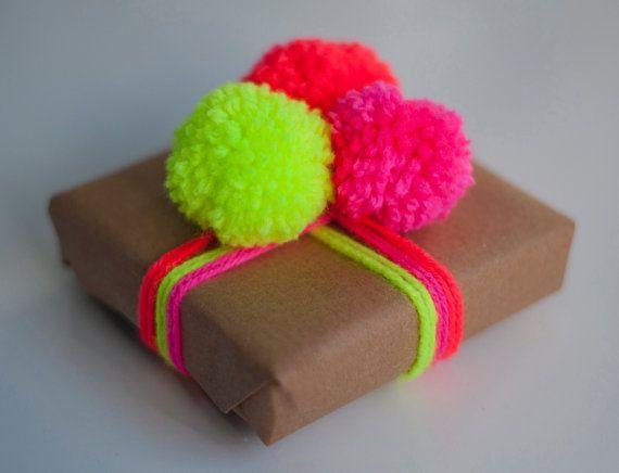 Handmade Neon/Fluorescent Coral/Orange Wool Pom Pom by NEONLDN
