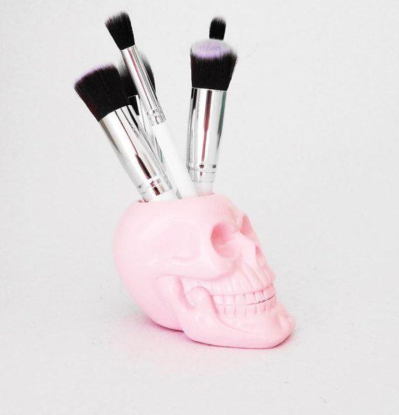 Makeup Brush Holder Skull Brush Holder Office by hodihomedecor