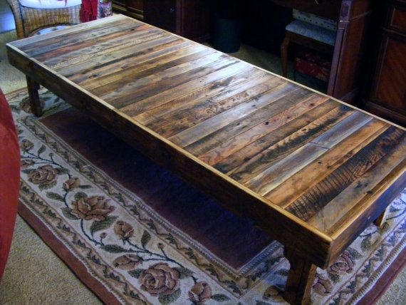 Extra large rustic reclaimed wood coffee table dining for Rustic oversized coffee table