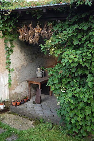 Svazky cibule a česneku ponechává majitelka zavěšené pod střechou, ale na čerstvém vzduchu.