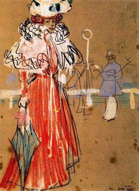 Figura Femenina en Rojo- Ramón Casas i Carbó