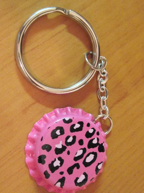 Hand crafted Bottlecap LOL pink cheetah print keychain  $3.50 OBO D