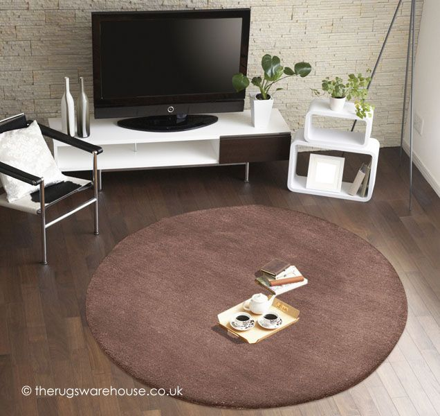 Comfort Brown Circle Rug A Thick 100 Wool Hand Tufted Plain Round