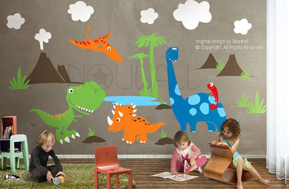 Hey, I found this really awesome Etsy listing at https://www.etsy.com/listing/88620658/dinosaurs-wall-decal-triceratops