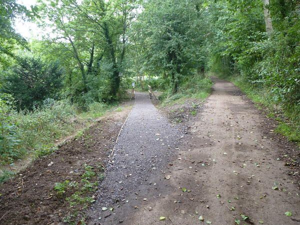 Hunt Nature Park, Shalford. The southern junction of the new woodland path with Downs Link. September 2013.