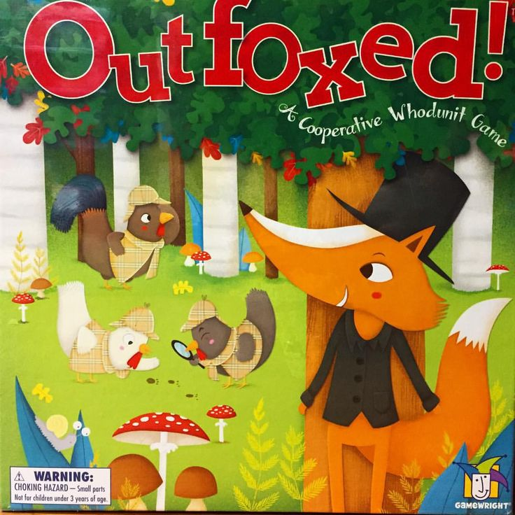 GAMEWRIGHT Outfoxed This is both a cooperative game and deduction game. The whole family will be honing deductive reasoning in a non-competitive environment. As you work together to try and nab the guilty fox.  Learn  skills such as estimating probability and paying attention to details, as well as the important role that collaboration plays towards problem-solving. #toys2learn #gamewright #educational game #boardgame #family fun