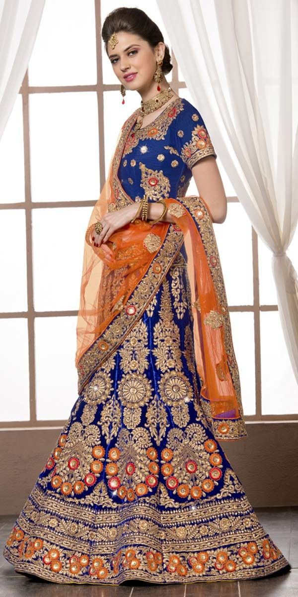 Marvelous Navy Blue Velvet Lehenga Choli With Dupatta.