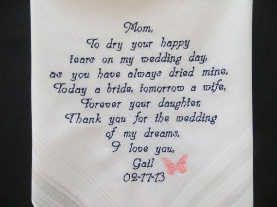 Who Do You Give Gifts To At Your Wedding: Embroidery 30 Words Of Your Choice. Wedding Handkerchief