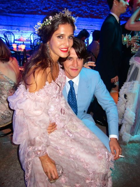 Margherita Missoni and her husband at their wedding reception