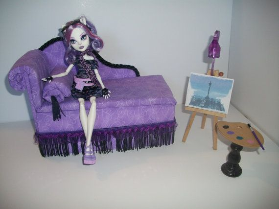 Furniture for Monster High Dolls Handmade Chaise Lounge Bed for Catrine DeMew with Bolster Pillow Table and Working Lamp
